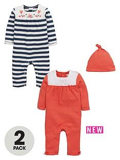 ladybird-baby-girls-2pk-romper-and-hat-set