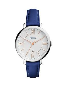 fossil-fossil-jacqueline-white-dial-silver-tone-case-blue-leather-strap-ladies-watch