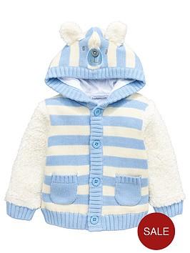 ladybird-baby-boys-teddy-bear-fleece-mix-hooded-cardigan