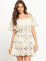 Bardot Lace Beach Dress