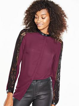 v-by-very-lace-insert-blouse-with-faux-leather-collar