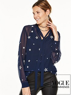 v-by-very-star-embroidered-sheer-blouse-with-pussybow-neck-tie