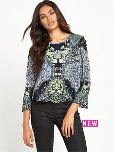 miss-selfridge-miss-selfridge-sophia-mirror-print-fluted-sleeve-blouse