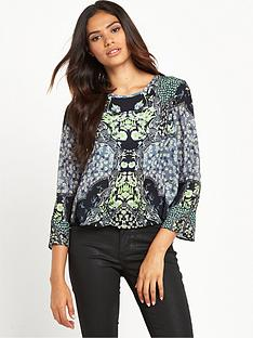 miss-selfridge-sophia-mirror-print-fluted-sleeve-blouse
