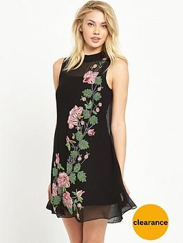 miss-selfridge-miss-selfridge-rose-embellished-trapeze-dress