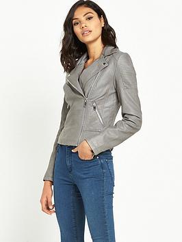 miss-selfridge-punbspbiker-jacket-grey
