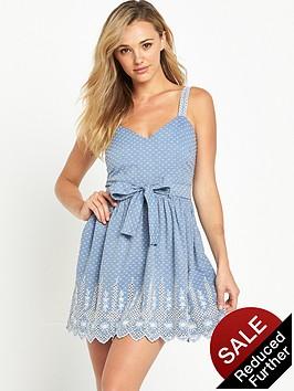 miss-selfridge-petite-chambray-broderie-dress