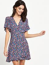 Floral Wrap Petite Dress - Navy