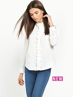 miss-selfridge-miss-selfridge-ivory-ruffle-placket-shirt