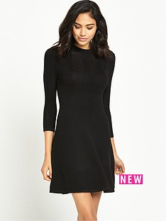 miss-selfridge-pointelle-yoke-rib-godet-dress