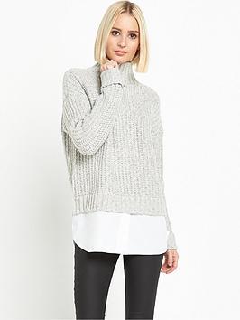 miss-selfridge-grown-on-neck-chunky-2-in-1-jumper-light-grey