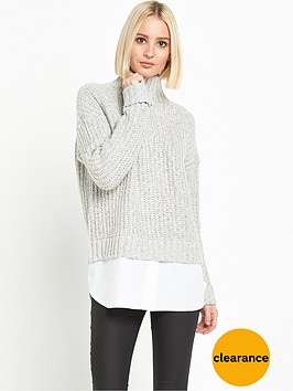 miss-selfridge-grown-on-neck-chunky-2-in-1-jumper-light-grey