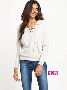 miss-selfridge-miss-selfridge-lace-up-sweat