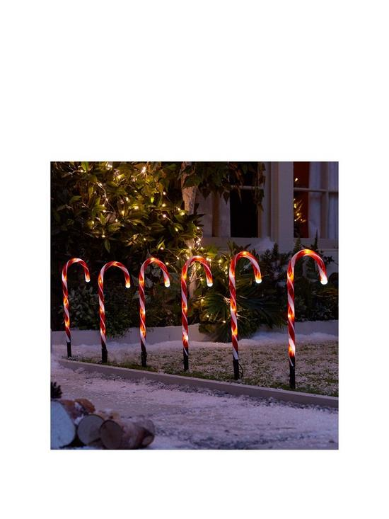 Candy Cane Garden Stake Light Outdoor Christmas Decorations (Set of 6) |  very.co.uk - Candy Cane Garden Stake Light Outdoor Christmas Decorations (Set Of
