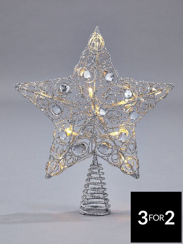 Christmas Tree Topper.Silver Star Light Up Christmas Tree Topper