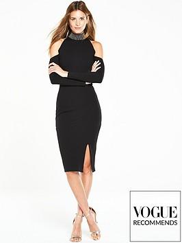 v-by-very-studded-cold-shoulder-dress