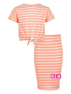 river-island-girls-coral-stripe-top-and-skirt-outfit