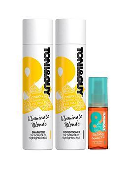 toniguy-illuminate-blonde-trio-ndash-shampoo-conditioner-amp-radiating-tropical-oil