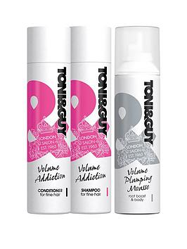 toniguy-volume-addiction-trio-ndash-shampoo-conditioner-amp-volume-plumping-mousse