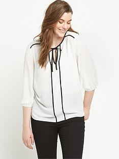 so-fabulous-tie-front-contrast-trim-western-blouse