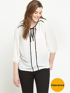 v-by-very-curve-tie-front-contrast-trim-western-blouse
