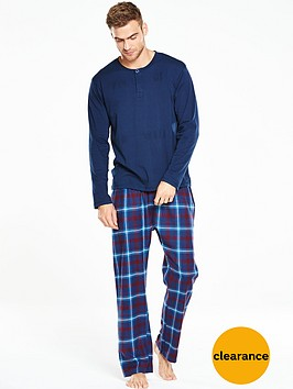 v-by-very-long-sleeve-grandad-brushed-woven-pj-set