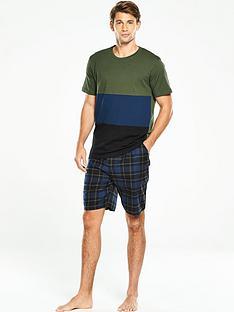 v-by-very-short-sleeve-colour-block-woven-pj