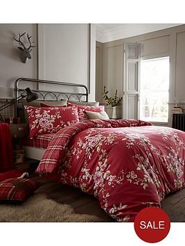 catherine-lansfield-brushed-canterbury-check-duvet-set-dark-red