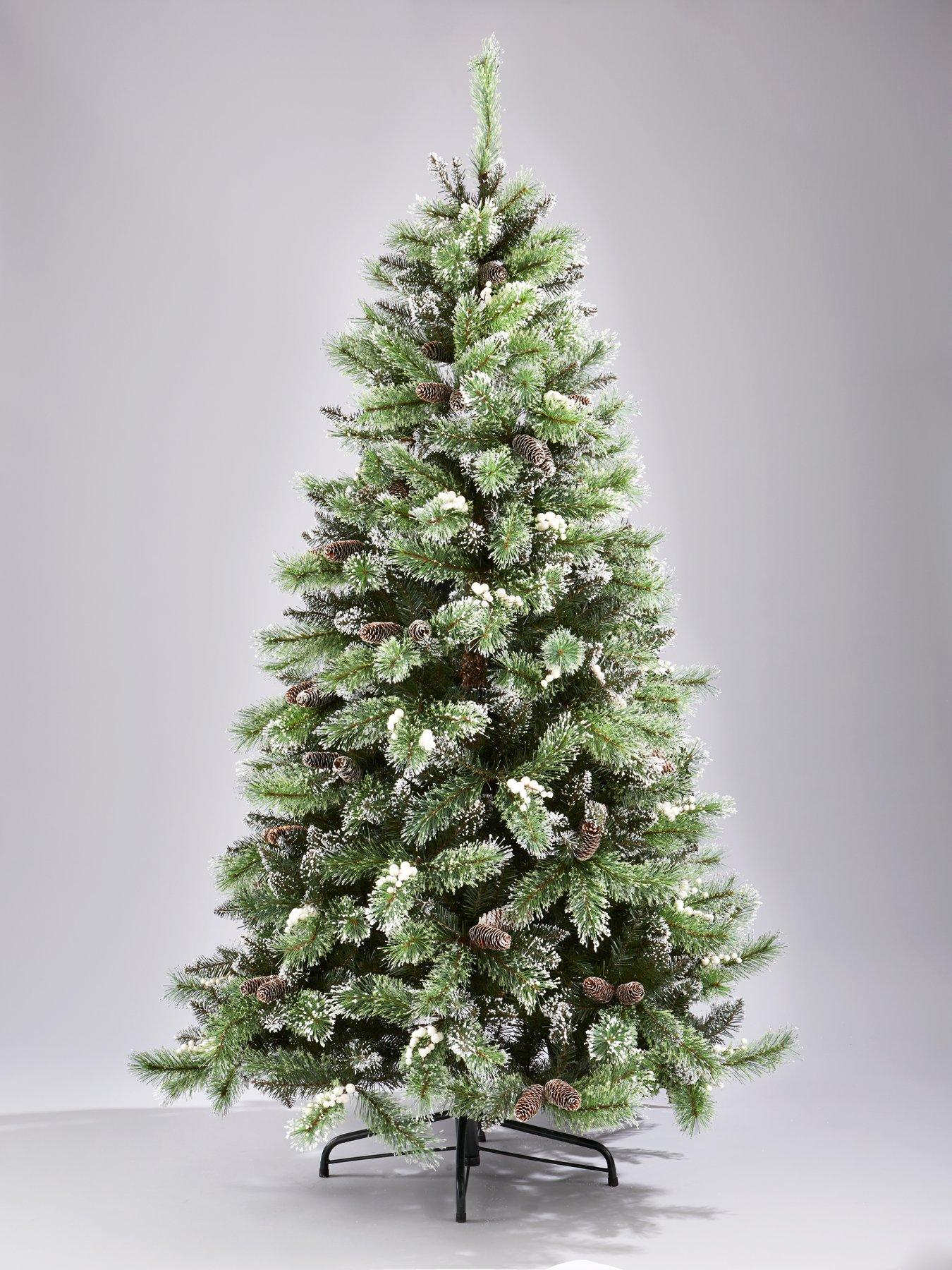 7ft Artificial Flocked Christmas Tree with Pine Cones and White ...