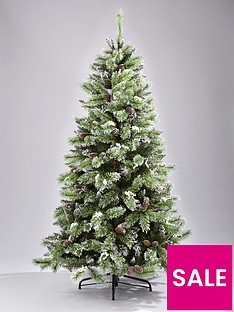 7ft-artificial-flocked-christmas-tree-with-pine-cones-and-white-berries