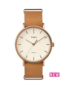 timex-timex-weekender-fairfield-cream-dial-brown-tan-leather-strap-unisex-watch