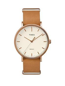 timex-timex-weekender-fairfield-cream-dial-brown-tan-leather-strap-unisex-watch
