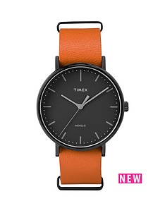 timex-timex-weekender-fairfield-black-dial-tan-strap-unisex-watch