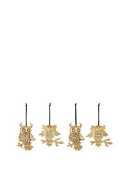 gold-glitter-owl-hanging-christmas-tree-decorations-set-of-4