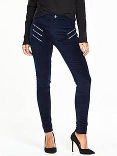 v-by-very-multi-zip-velvet-biker-jean