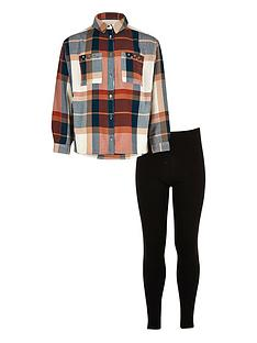 river-island-girls-coral-checked-shirt-and-leggings-set