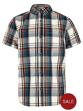 river-island-boys-ecru-short-sleeved-check-shirt