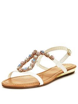 wallis-stonynbspembellished-flat-sandal