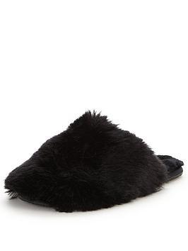 ted-baker-hawlethnbspfluffy-slipper-mule-black