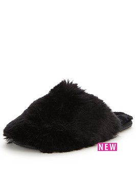 ted-baker-hawlethnbspfluffy-slipper-mule-black