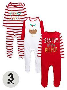 ladybird-baby-unisex-3pk-xmas-sleepsuits