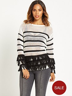 rochelle-humes-striped-fringe-jumper