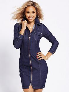 myleene-klass-zip-front-stretch-denim-dress-indigo