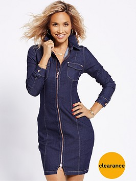 myleene-klass-zip-front-stretch-denim-dress-indigo