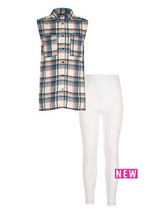 river-island-girls-pink-check-shirt-and-leggings-set