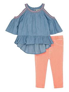 river-island-mini-girls-denim-cold-shoulder-top-and-jeggings