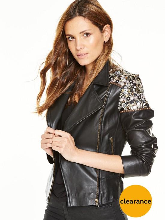 V by Very Embellished Leather Jacket   very.co.uk