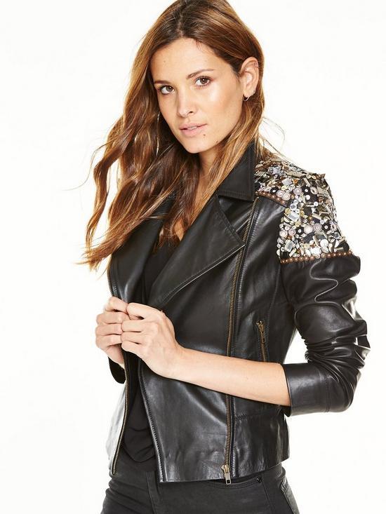 V by Very Embellished Leather Jacket | very.co.uk
