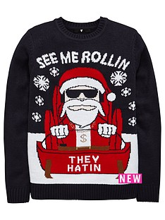 v-by-very-boys-christmas-rollin-santa-knitted-jumper