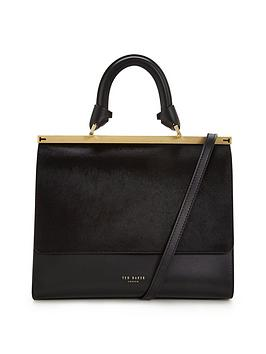 ted-baker-pony-skin-top-handle-tote-black